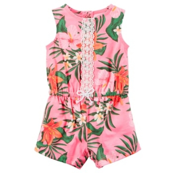 31e1226241d3 Baby Girl 6M Tropical Romper Pink with Lace Detail